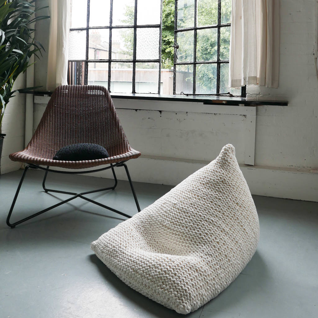 hand knitted pearl wedge bean bag by jessica lee ...