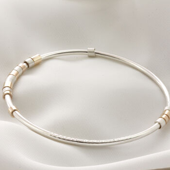 Silver And 9ct Gold Secret Message Bangle