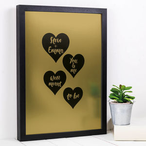 Personalised 'Meant To Be' Gold Or Silver Print