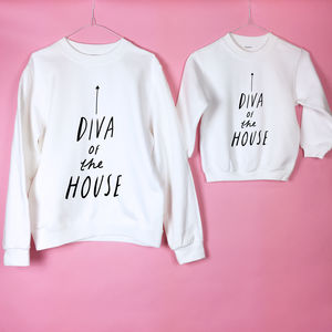 'Diva Of The House' Mum And Child Sweatshirt Set