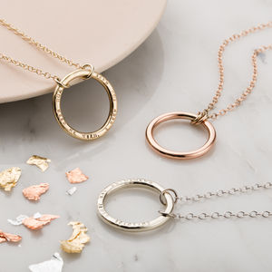 Personalised 9ct Gold Full Circle Necklace - new in wedding styling