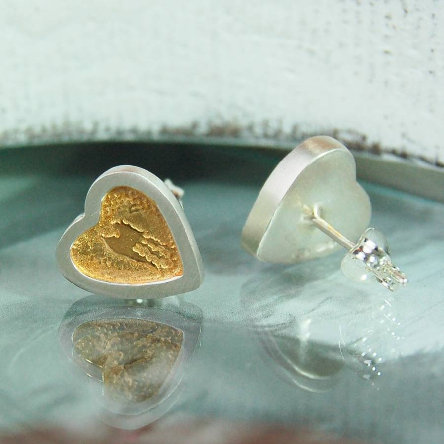 Sterling Silver And Gold Vermeil Heart Stud Earrings