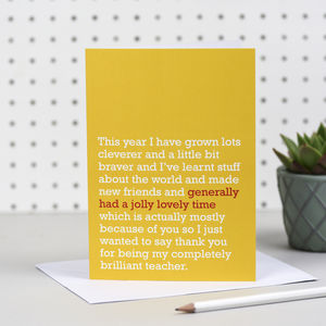 'A Jolly Lovely Time' Teacher Card