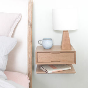 Oak Floating Bedside Table With Drawer And Shelf - furniture