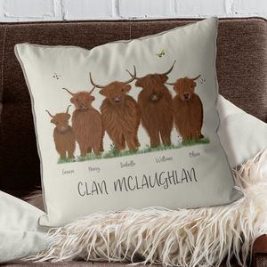 Personalised Highland Cow Family Cushion