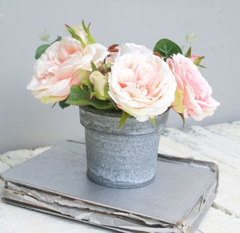 Apricot And Pink Rose Faux Bouquet In Zinc Pot
