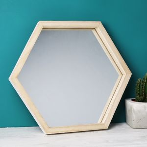 Wooden Hexagon Wall Mirror - new in