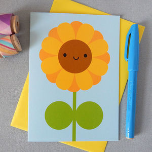 Happy Sunflower Kawaii Greetings Card