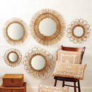 Natural Rattan Sunburst Wall Mirror