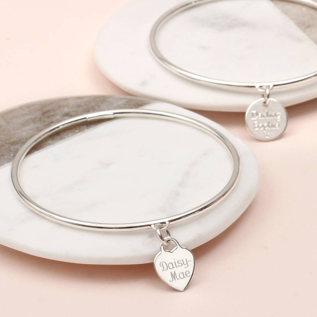 826992cf44a0b Personalised Sterling Silver Heart Or Disc Charm Bangle