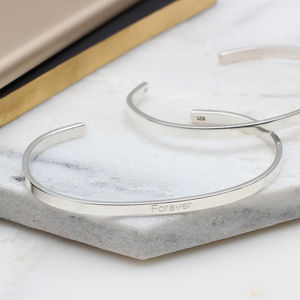 Personalised Sterling Silver Slim Torque Bangle - bracelets