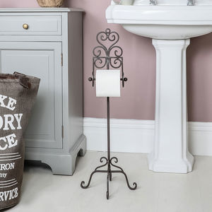 Cast Iron Free Standing Heart Toilet Roll Holder