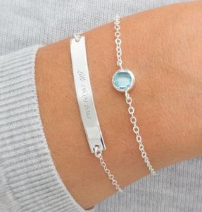 Personalised Bar And Birthstone Bracelet Set - personalised jewellery