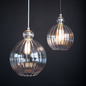 Clear Ribbed Glass Globe Mabel Pendant Light