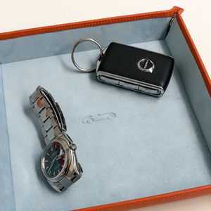 Large Leather Tidy Tray With Embossed Car For Dad