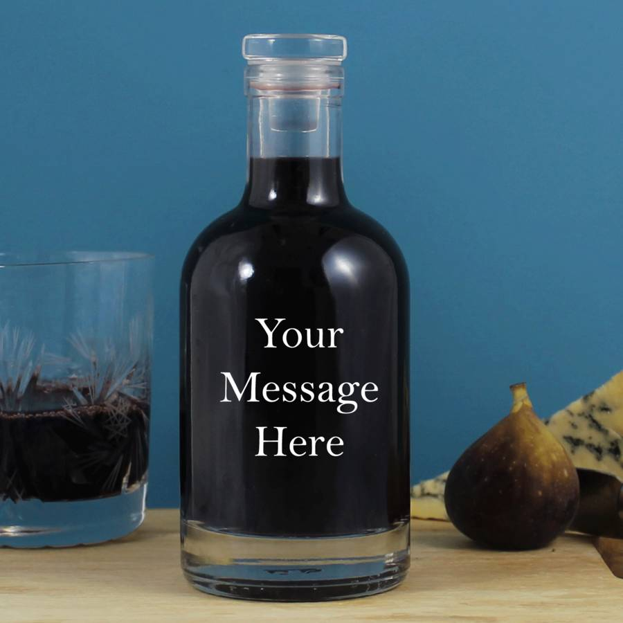 Bespoke Personalised Message Glass Decanter Groom