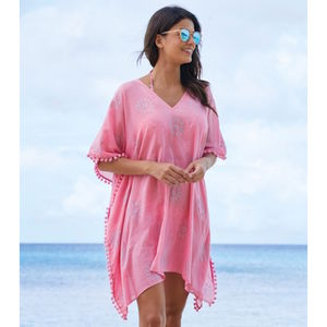 Pink Kiki Sun Cotton Beach Kaftan - swimwear & beachwear