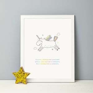 Personalised Be A Unicorn Print - personalised