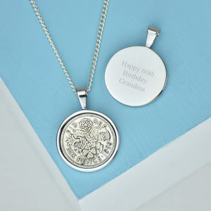 Sixpence 60th 1956 Birthday Coin Necklace - necklaces & pendants