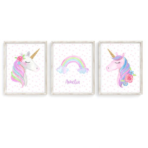 Unicorn Rainbow Girl's Bedroom Nursery Art Print Set