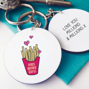 Fries Before Guys Message Keyring - women's accessories