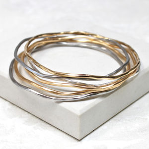 Mixed Metal Stacking Bangles - summer sale
