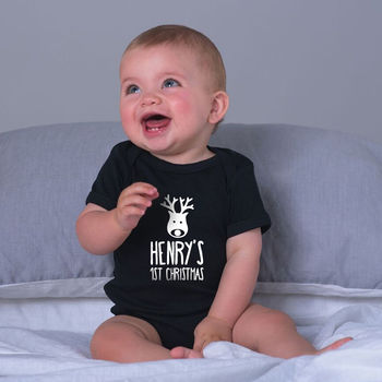 Personalised First Christmas Baby Grow, Printed