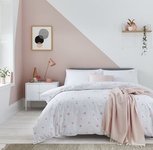 Scattered Stars Pink And White Organic Bed Linen