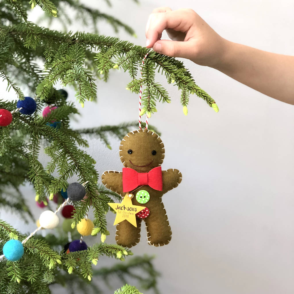 gingerbread man christmas decoration with star tag