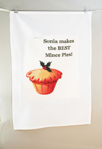 Personalised Mince Pie Tea Towel