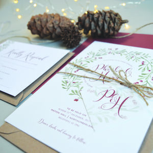 Christmas Wedding Invitation - wedding stationery