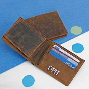 Personalised Men's Leather Wallet - winter sale