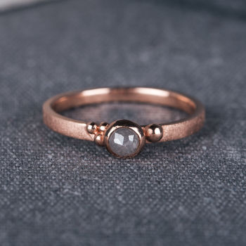 9ct Rose Gold Seeded Engagement Ring With Grey Diamond