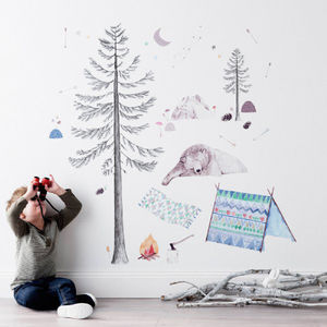 Lets Go Camping Fabric Wall Decal - baby's room