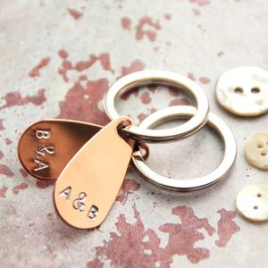 Personalised Copper Keyring Set For Two - keyrings