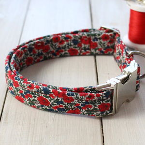 Winifred Liberty Fabric Dog Collar - walking