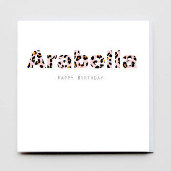 Leopard Print Birthday Girl Name Card