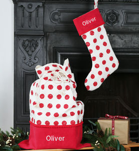 Luxury Personalised Red Spot Santa Sack And Stocking