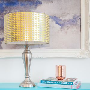 Metallic Triangle Print Drum Lampshade - lighting