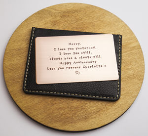 Personalised Anniversary Metal Wallet Insert Card - gifts for mothers