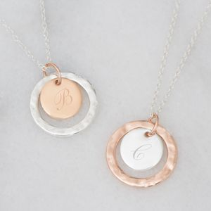 Personalised Hammered Halo Initial Disc Necklace
