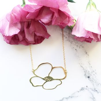 Gold Anemone Flower Necklace