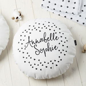 Personalised Kids Monochrom Hearts Round Cushion - children's room