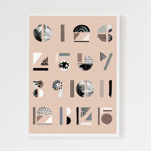 Abstract Numbers Blush Pink Art Print - best gifts