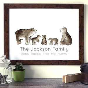 Personalised Family Bear Portrait Print - pictures & prints for children