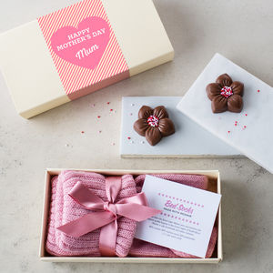 Mother's Day Bed Socks And Chocolate Flowers Gift Box - flowers and sweet treats
