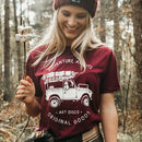 Womens 'Adventure Awaits' Maroon T Shirt