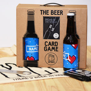 Personalised Beer And Card Game Gift Set