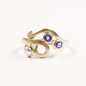 Yellow Gold Blue Sapphire And Pearl Curl Ring - personalised