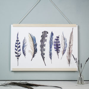 Wild Blue Feathers Watercolour Art Print
